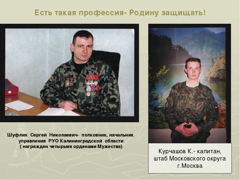 Есть такая профессия- Родину защищать! Шуфлик Сергей Николаевич- полковник, н...