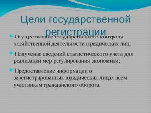 Цели государственной регистрации Осуществление государственного контроля хозя
