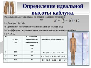 Определение идеальной высоты каблука. Идеальная высота каблука по теории «зол