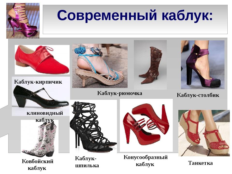 Современный каблук: Каблук-кирпичик клиновидный каблук Каблук-рюмочка Конусоо...
