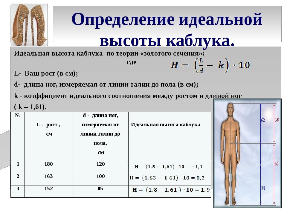 Определение идеальной высоты каблука. Идеальная высота каблука по теории «зол...