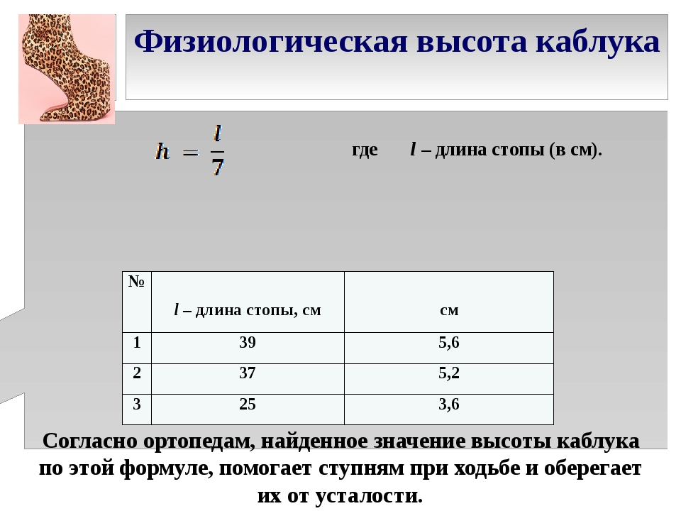 Физиологическая высота каблука Согласно ортопедам, найденное значение высоты...