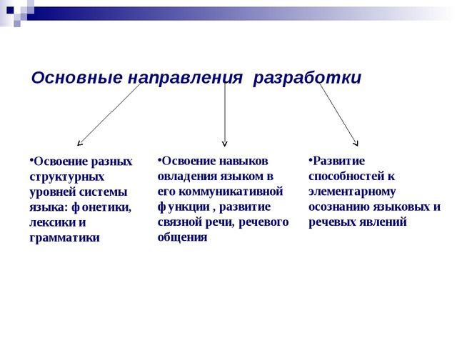 Основные направления разработки Освоение разных структурных уровней системы...