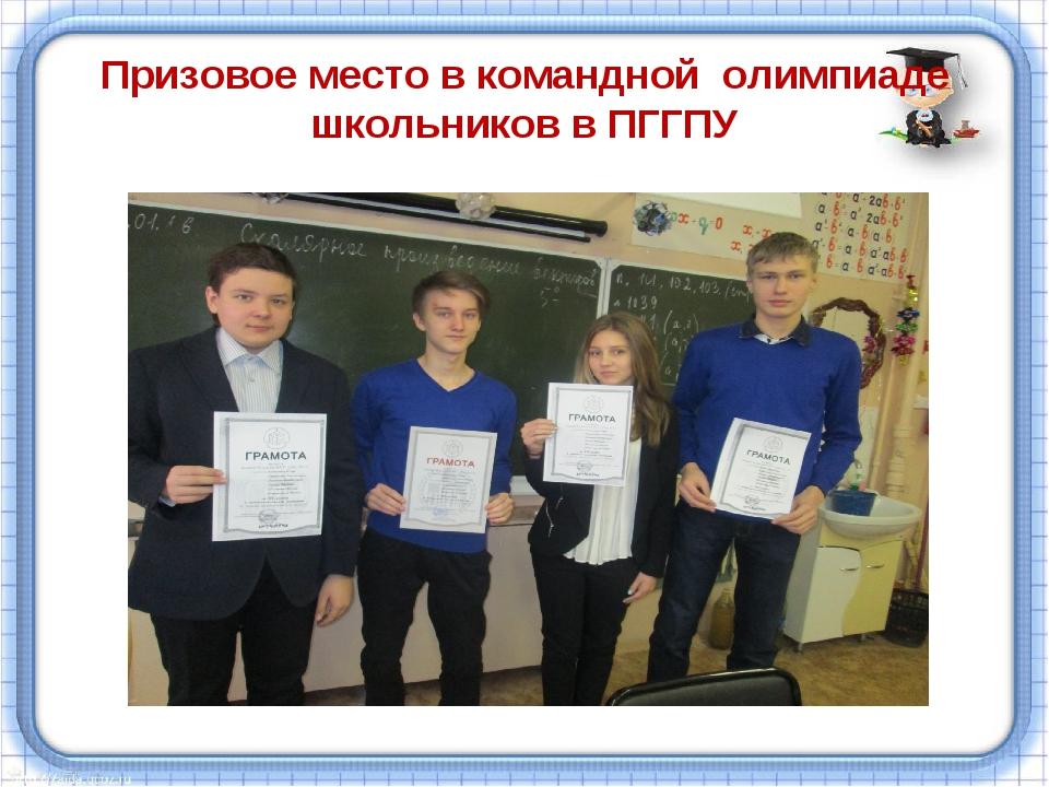 Призовое место в командной олимпиаде школьников в ПГГПУ