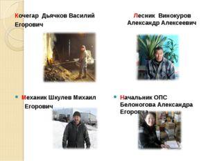 Кочегар Дьячков Василий Егорович Лесник Винокуров Александр Алексеевич Механи