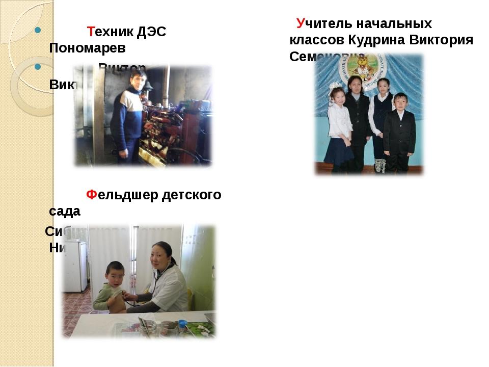 Техник ДЭС Пономарев Виктор Викторович Учитель начальных классов Кудрина Вик...