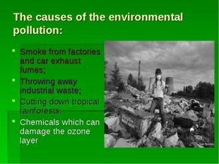 The causes of the environmental pollution: Smoke from factories and car exhau
