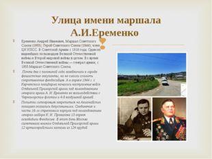 Улица имени маршала А.И.Еременко Еременко Андрей Иванович, Маршал Советского
