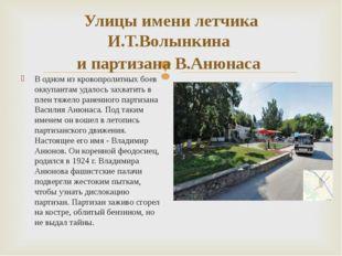 Улицы имени летчика И.Т.Волынкина и партизана В.Анюнаса В одном из кровопроли