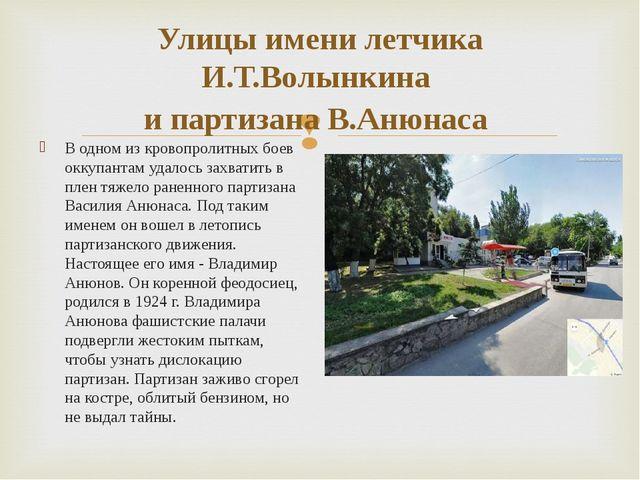 Улицы имени летчика И.Т.Волынкина и партизана В.Анюнаса В одном из кровопроли...