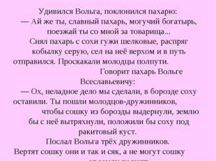 Удивился Вольга, поклонился пахарю: — Ай же ты, славный пахарь, могучий богат