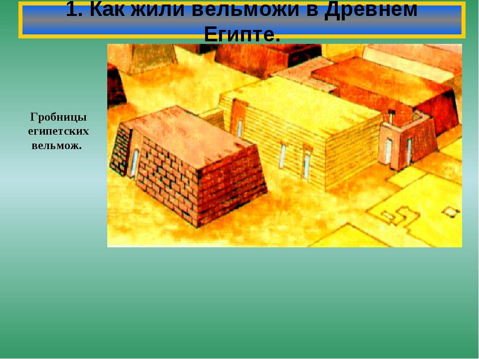 1. Как жили вельможи в Древнем Египте. Гробницы египетских вельмож.