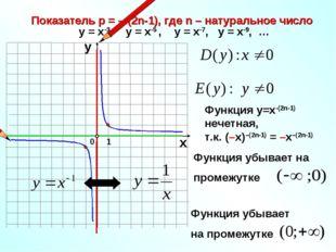 Показатель р = – (2n-1), где n – натуральное число 1 0 х у у = х-3, у = х-5 ,