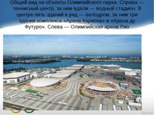 Общий вид на объекты Олимпийского парка. Справа — теннисный центр, за ним вда