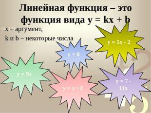 x – аргумент, k и b – некоторые числа Линейная функция – это функция вида y =