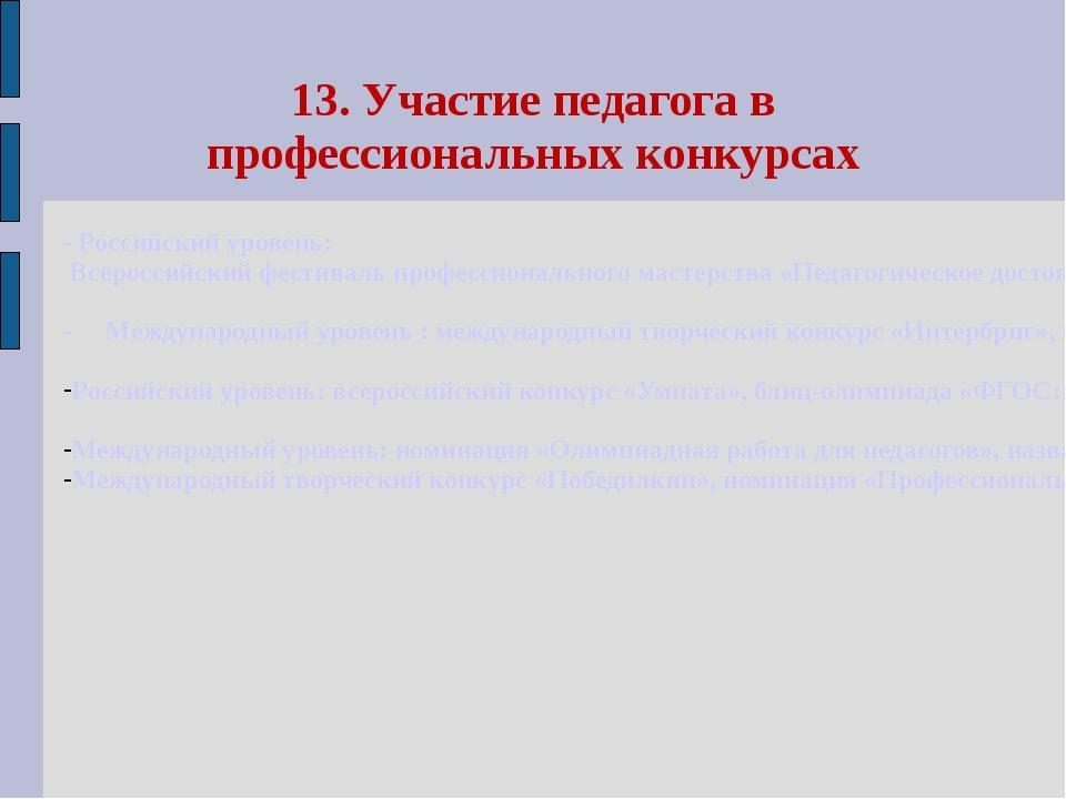 13. Участие педагога в профессиональных конкурсах - Российский уровень: Всеро...