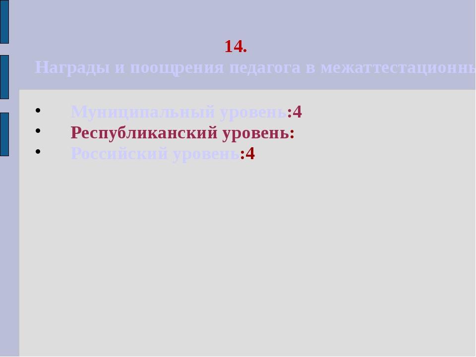 14. Награды и поощрения педагога в межаттестационный период Муниципальный уро...