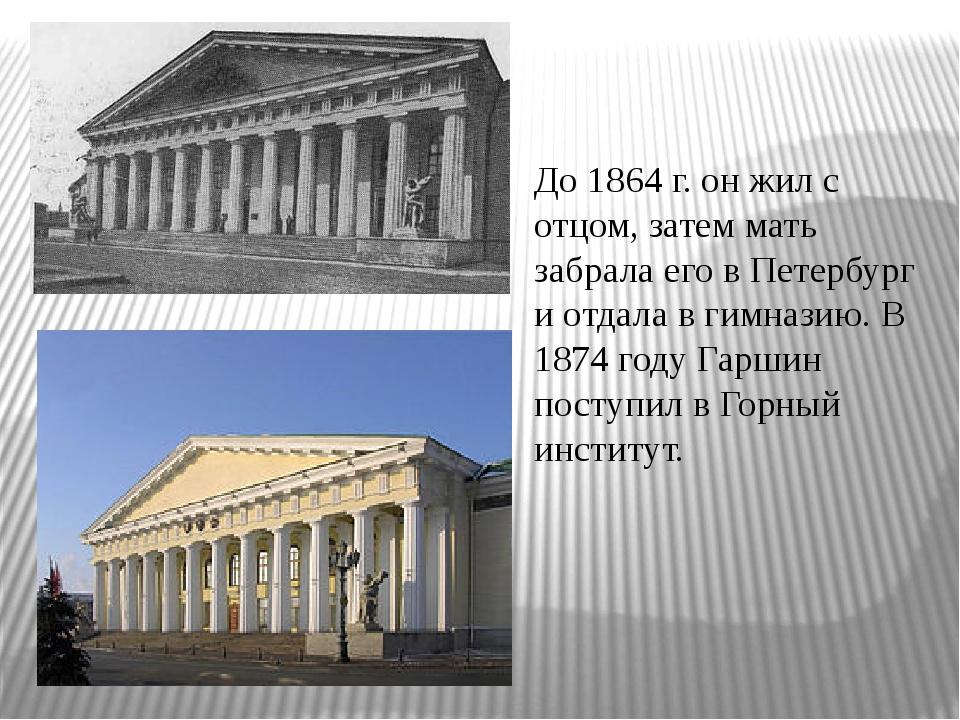 До 1864 г. он жил с отцом, затем мать забрала его в Петербург и отдала в гимн...