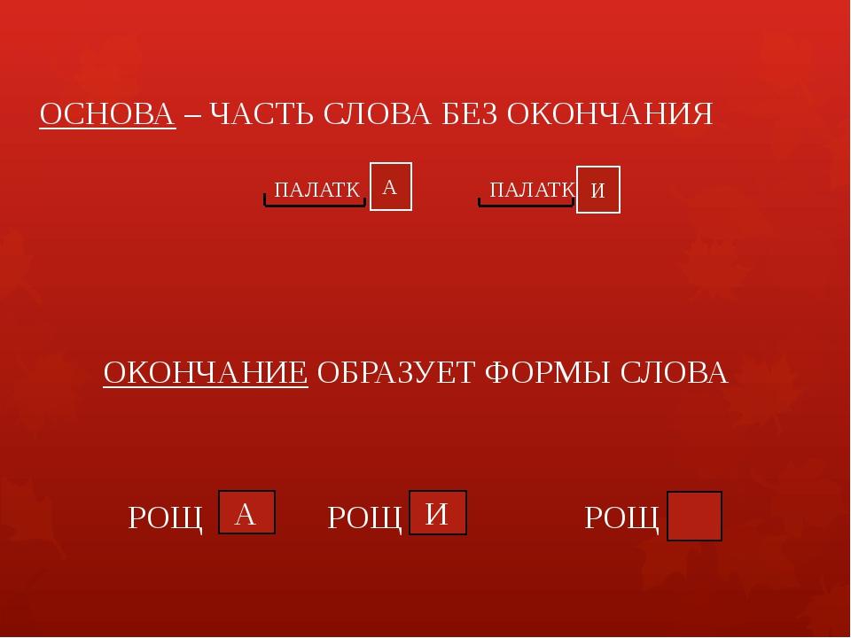 ОСНОВА – ЧАСТЬ СЛОВА БЕЗ ОКОНЧАНИЯ ПАЛАТК ПАЛАТК А И ОКОНЧАНИЕ ОБРАЗУЕТ ФОРМЫ...