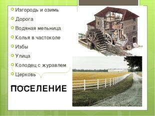 Изгородь и озимь Дорога Водяная мельница Колья в частоколе Избы Улица Колодец