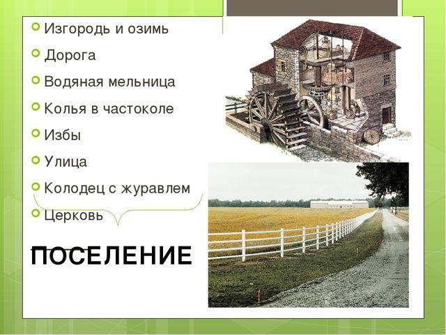 Изгородь и озимь Дорога Водяная мельница Колья в частоколе Избы Улица Колодец...