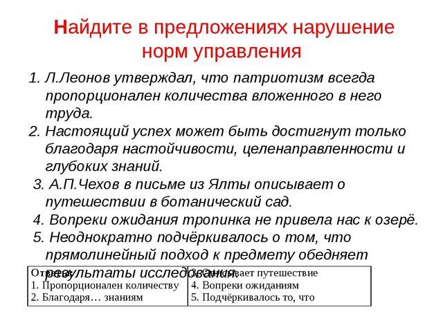 Найдите в предложениях нарушение норм управления Л.Леонов утверждал, что пат...