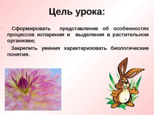 Цель урока: Сформировать представление об особенностях процессов испарения и