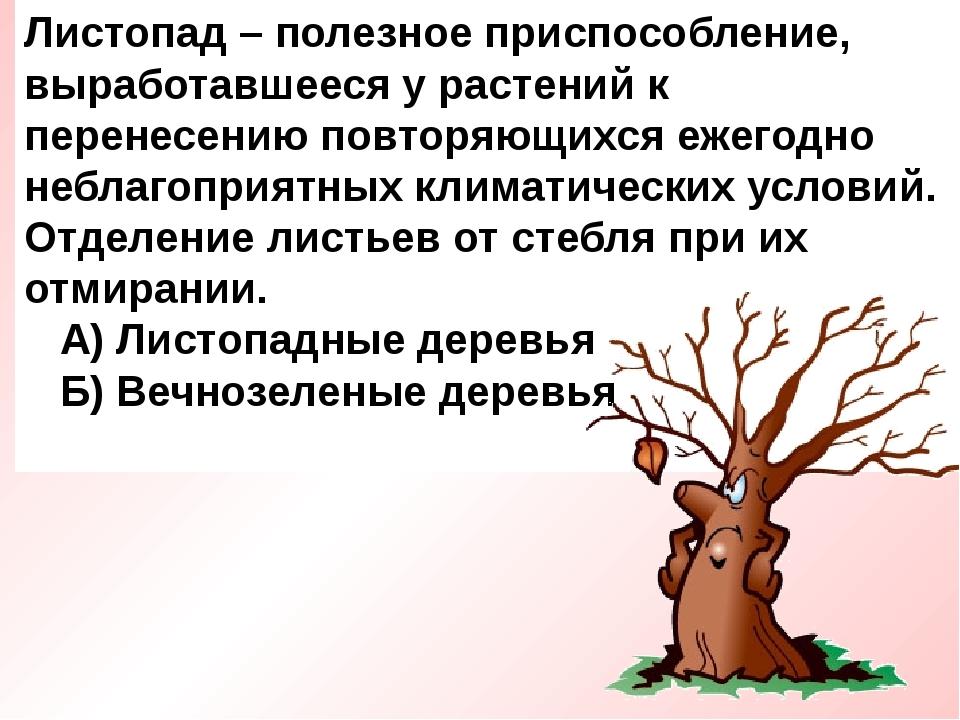 Листопад – полезное приспособление, выработавшееся у растений к перенесению п...