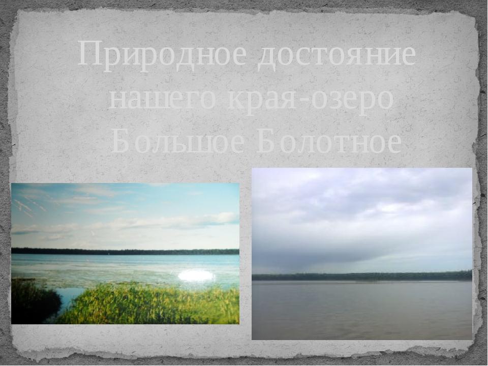 Природное достояние нашего края-озеро Большое Болотное