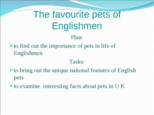 The favourite pets of Englishmen Plan: to find out the importance of pets in