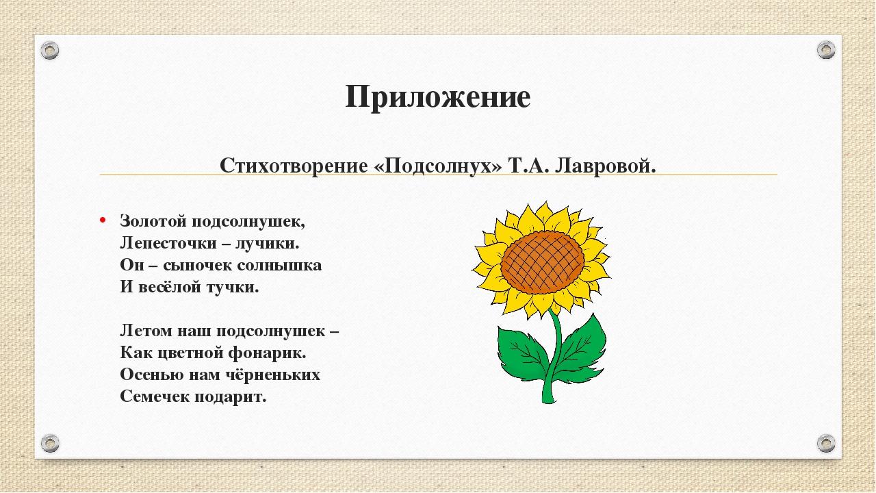 Приложение Стихотворение «Подсолнух» Т.А. Лавровой. Золотой подсолнушек, Лепе...