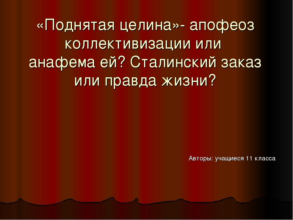 «Поднятая целина»- апофеоз коллективизации или анафема ей? Сталинский заказ и...