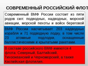 Современный ВМФ России состоит из пяти родов сил: подводных, надводных, морск
