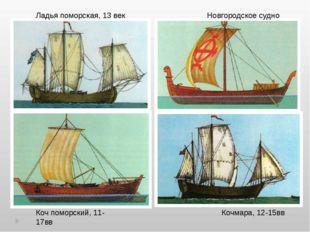 Новгородское судно Кочмара, 12-15вв Коч поморский, 11-17вв Ладья поморская, 1
