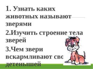 1. Узнать каких животных называют зверями 2.Изучить строение тела зверей 3.Че