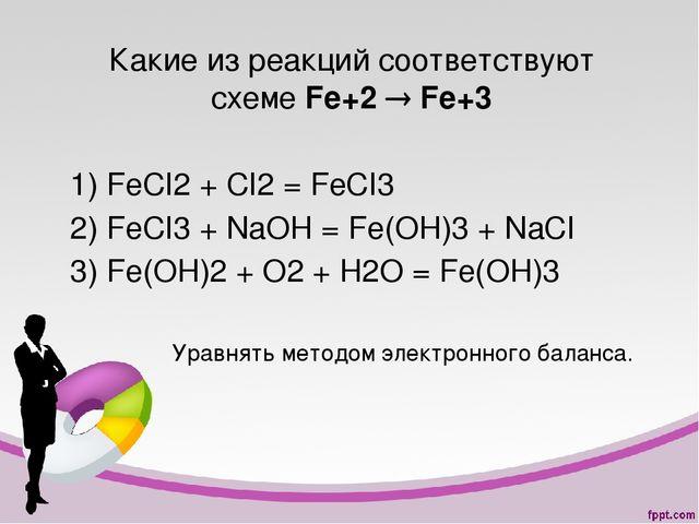 Какие из реакций соответствуют схеме Fe+2  Fe+3 1) FeCI2 + CI2 = FeCI3 2) Fe...