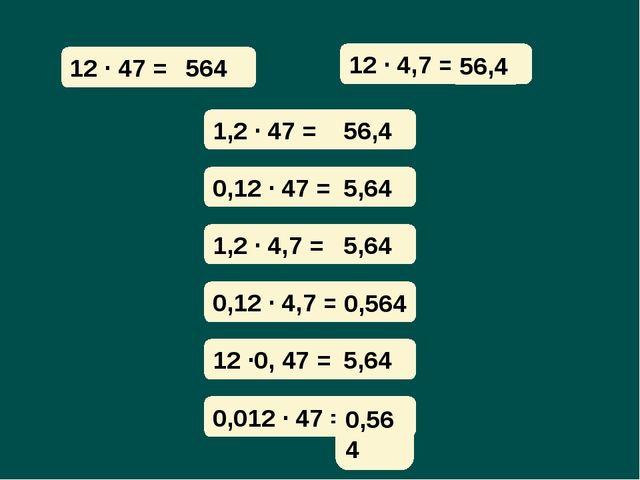 12 · 47 = 12 · 4,7 = ? 56,4 1,2 · 47 = 0,12 · 47 = 1,2 · 4,7 = 0,12 · 4,7 = 1...