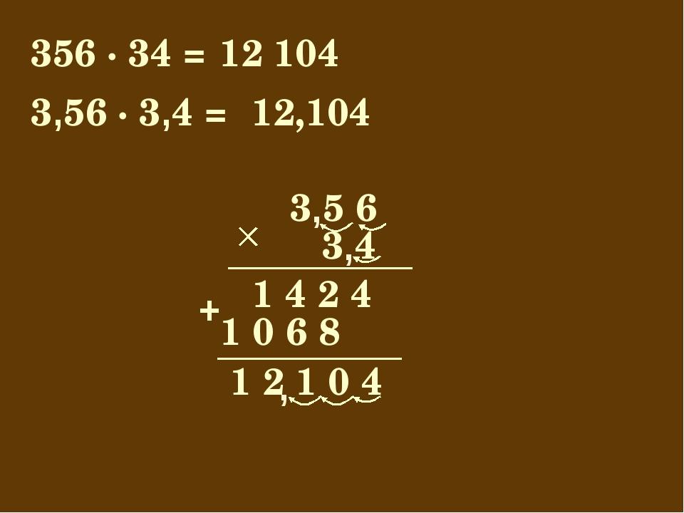 356 · 34 = 12 104 3 5 6 1 2 1 0 4 3 4 1 4 2 4 1 0 6 8 + 3,56 · 3,4 = 12,104 ,...