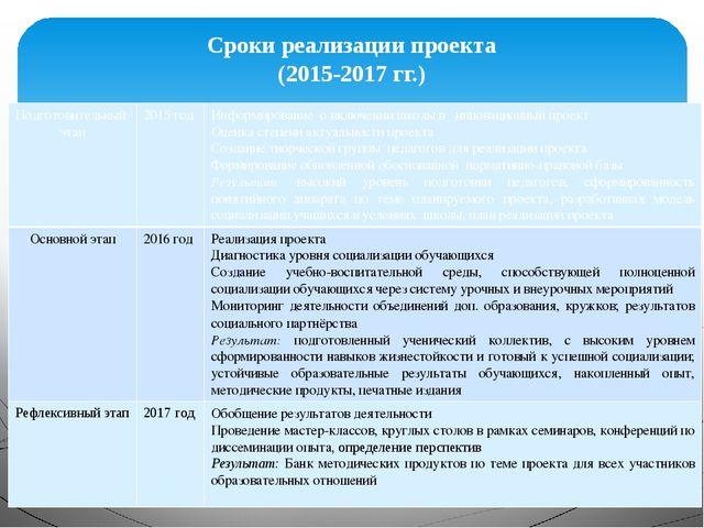 Сроки реализации проекта (2015-2017 гг.) Подготовительный этап 2015 год Инфор...