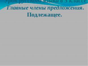 Урок русского языка в 5 классе Главные члены предложения. Подлежащее. Адылева
