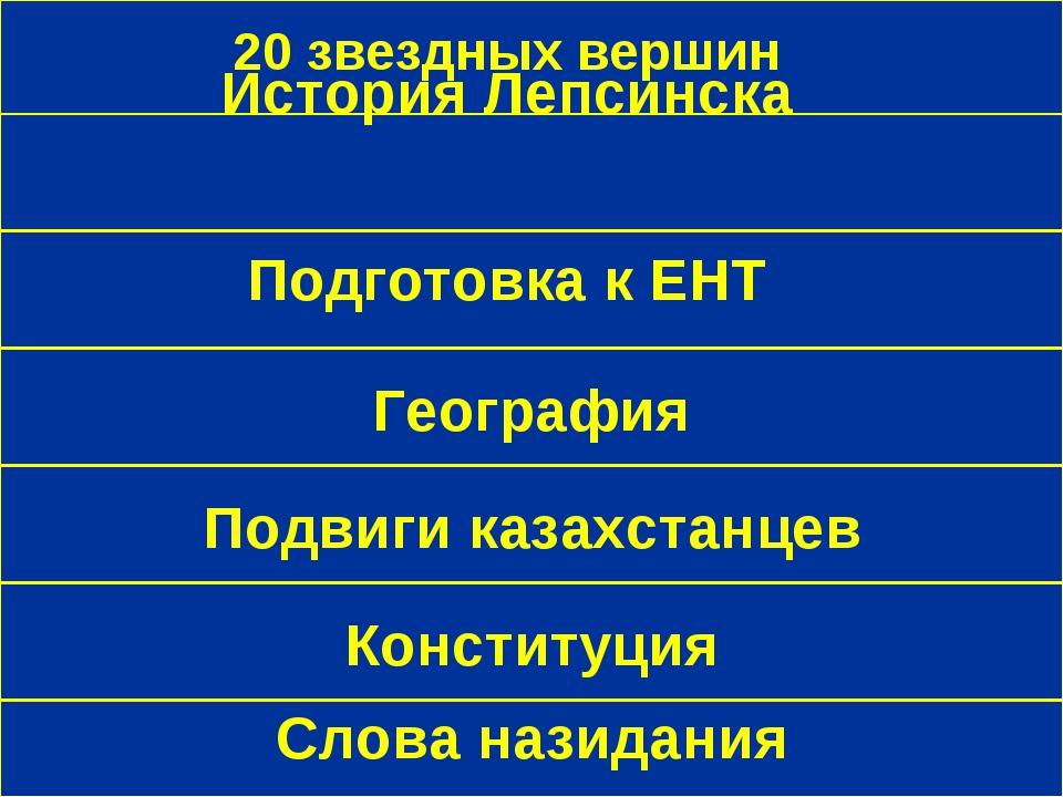 20 звездных вершин Подвиги казахстанцев История Лепсинска География Подготовк...
