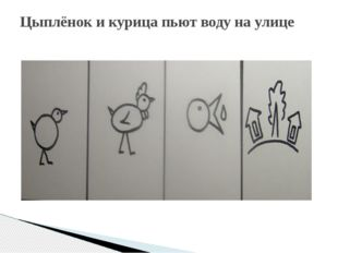 Цыплёнок и курица пьют воду на улице