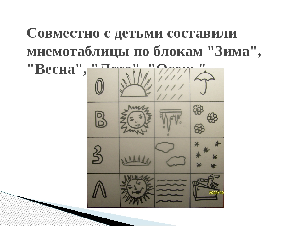 """Совместно с детьми составили мнемотаблицы по блокам """"Зима"""", """"Весна"""", """"Лето"""",..."""