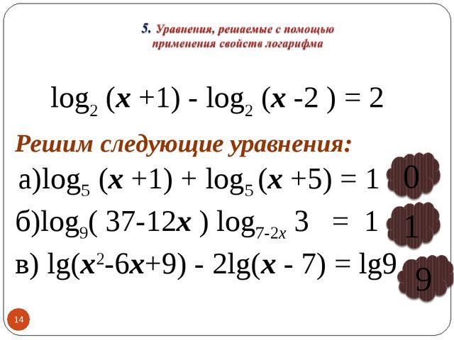 * log2 (х +1) - log2 (х -2 ) = 2 Решим следующие уравнения: а)log5 (х +1) + l...