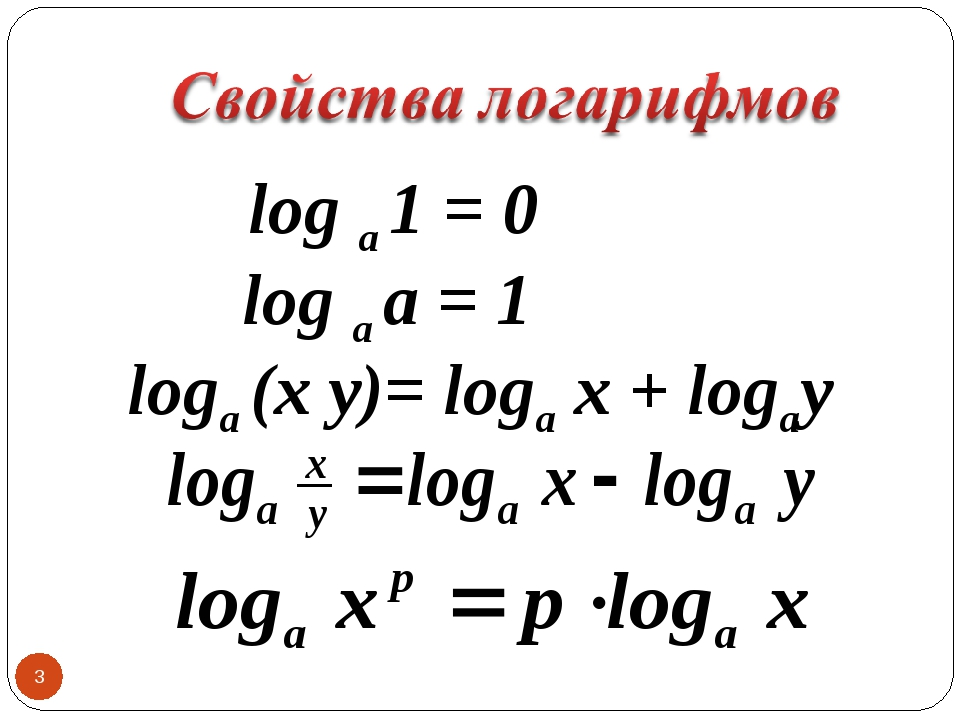 * log a 1 = 0 log a a = 1 loga (x y)= loga x + logay