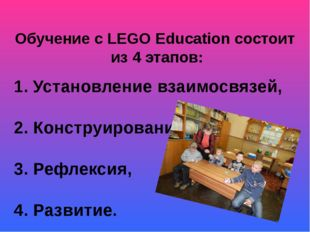 Обучение с LEGO Education состоит из 4 этапов: 1. Установление взаимосвязей,