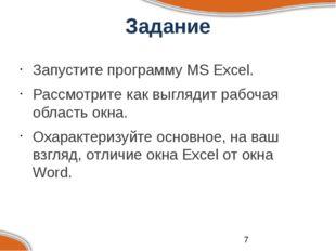 Задание Запустите программу MS Excel. Рассмотрите как выглядит рабочая облас