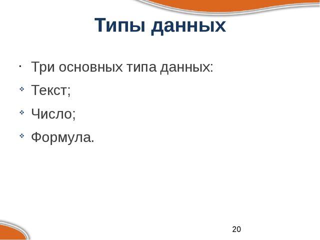 Типы данных Три основных типа данных: Текст; Число; Формула.