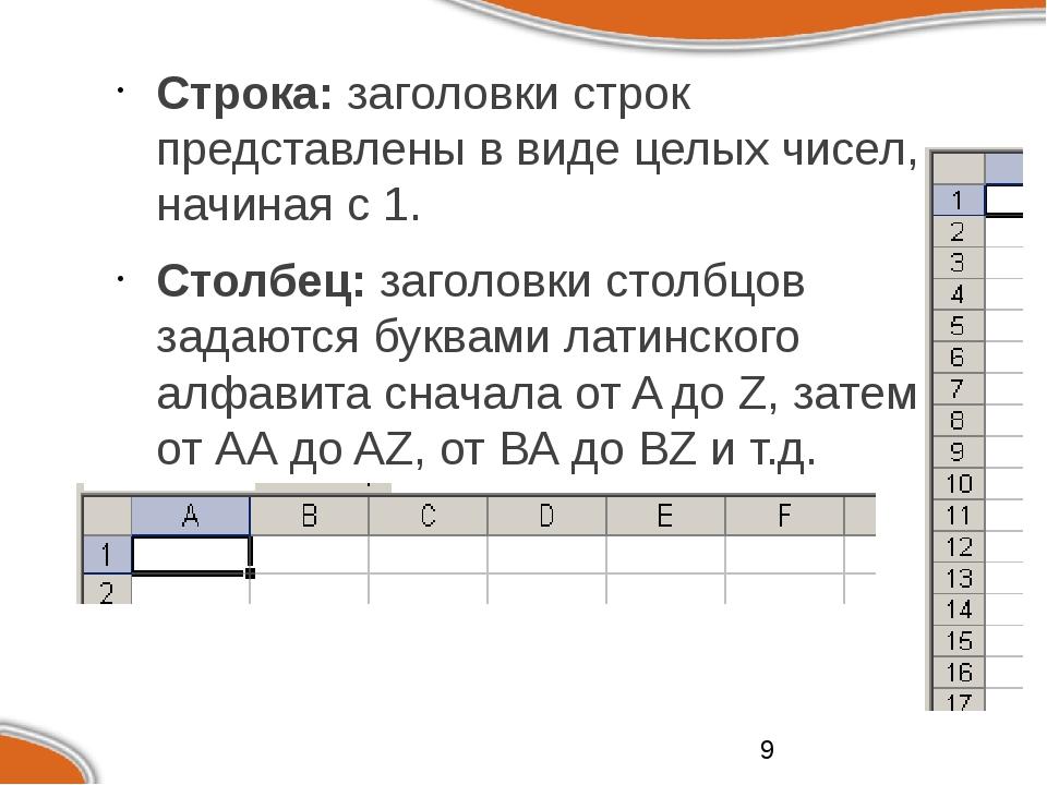 Строка: заголовки строк представлены в виде целых чисел, начиная с 1. Столбе...