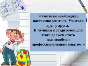 «Учителю необходимо постоянно учиться. Учиться друг у друга. И лучшим побуд